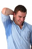 stock photo of armpit  - Man with Hyperhidrosis sweating very badly under armpit - JPG