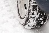 Car On Snow Road