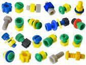 Toy Kunststoff details Schrauben, Muttern, Getriebe