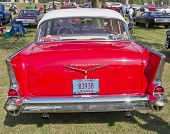 Red 1957 Chevy Bel Air Rear View