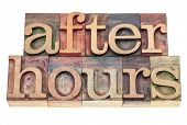 after hours - isolated text in vintage letterpress wood type blocks