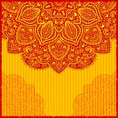 picture of indian wedding  - Red Indian ornament greeting card - JPG