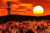 Meadow Agriculture Sunset Sunrise concept 3D render