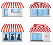 stock photo of awning  - Cute shop icons with red awnings for your website - JPG