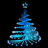 Abstract Christmas Tree With Blue Lights