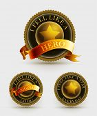Gold and black badge set with ribbon. Elements are layered separately in vector file.