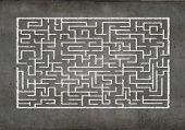 stock photo of riddles  - Drawn abstract maze against white background - JPG