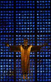 BERLIN, GERMANY - JULY 20, 2013: The altar of the Kaiser Wilhelm Memorial Church, Berlin, Germany, d