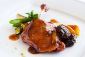 Roast Duck Thigh With Sweet Fruit Sauce.