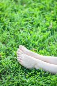 Barefooted Attractive Female Legs Laying In Green Grass Vertical Copyspace