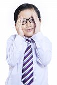 Shy Expression Of Little Businessman - Isolated
