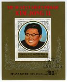 NORTH KOREA - CIRCA 1987: A stamp printed in North Korea shows image of the Birth Of The Dear Leader