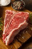foto of t-bone steak  - Thick Raw T - JPG