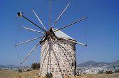 stock photo of gumbet  - Aegean style old mills in Bodrum Turkey - JPG