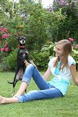 foto of miniature pinscher  - Cute little miniature pinscher dog playing with a young teenage girl on the green grass standing up on its hind legs balancing on her knee - JPG