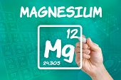 Hand drawing the symbol for the chemical element magnesium