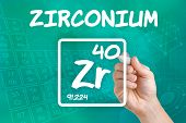 Hand drawing the symbol for the chemical element zirconium