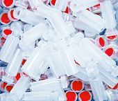 pic of hplc  - Pile of HPLC microvials with bright red caps - JPG