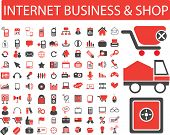 internet business, shop, retail icons, signs set, vector