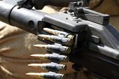 stock photo of ammo  - Gun ammunition used during the Second World War - JPG