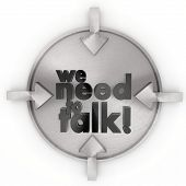 We Need To Talk Sign On Metallic Label