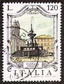 ITALY - CIRCA 1979: a stamp printed in Italy shows Fontana Grande (Great Fountain), built in the 13th century in Viterbo. Italy, circa 1979