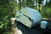 stock photo of recreational vehicle  - Travel Trailer in RV Park - JPG