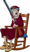 stock photo of shotguns  - Cartoon of a Grandmother in a rocking chair and holding a shotgun - JPG