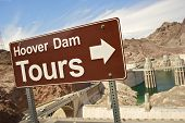 image of dam  - Hoover Dam Tours Sign and Hoover Dam  - JPG