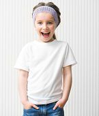 little girl in a white t shirt