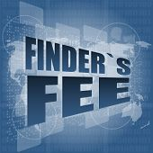 Finder Fee Word On Digital Touch Screen