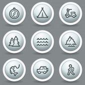 Travel web icons set 3, circle grey matt buttons