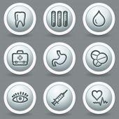 Medicine  web icons set 1, circle grey matt buttons