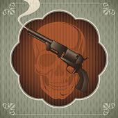 Vintage poster with gun. Vector illustration.
