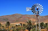 landscape of Antigua, in Fuerteventura, Canary Islands, Spain, with an old windpump in the foreground