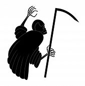stock photo of scythe  - black death with scythe on white background  - JPG