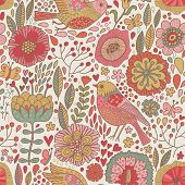 Vintage floral romantic seamless pattern in vector. Seamless pattern can be used for wallpapers, pat