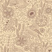Vintage seamless pattern in ocher colors