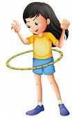 stock photo of hulahoop  - Illustration of a young girl playing with a hulahoop on a white background - JPG