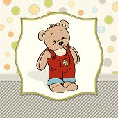 Customizable Childish Card With Funny Teddy Bear