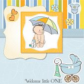 Baby Boy Shower Card With Funny Baby Under His Umbrella