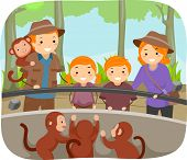 Illustration of a Family Checking Out the Monkeys at the Zoo
