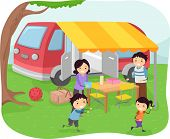 Illustration of a Family Having a Picnic on a Warm Sunny Day