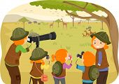Illustration of a Family Enjoying a Safari Tour