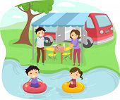 foto of camper-van  - Illustration of a Family Having a Picnic Near a Lake - JPG