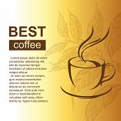 Bright background with coffee cup and coffee brunch