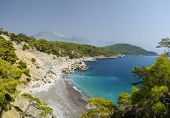 Panoramic view of Mediterranean coastline in Oludeniz, Turkey