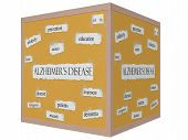 Alzheimer's Disease 3D Cube Corkboard Word Concept