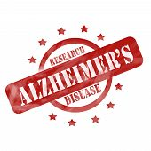 Red Weathered Alzheimer's Disease Research Stamp Circle And Stars Design