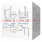 foto of hpv  - Cervical Cancer 3D cube Word Cloud Concept with great terms such as prevention women virus and more - JPG
